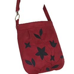 duża torba,na skos,bodowy zamsz,czarne kwiaty - Na ramię - Torebki