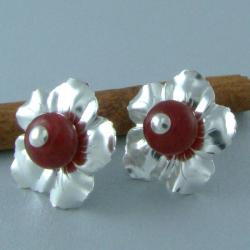 srebrny kwiat,wkrętki,sztyfty - Kolczyki - Biżuteria