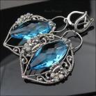 Kolczyki błękitne,swarovski,bogate,wire wrapping