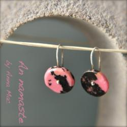 drobne różowe kolczyki,różowy,rodonit - Kolczyki - Biżuteria