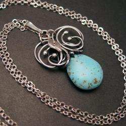 wire-wrapping,wisior,howlit turkusowy,srebro - Wisiory - Biżuteria