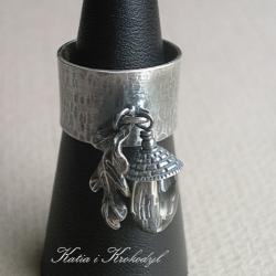 liść,dębowy pierścień,z żołędziem - Pierścionki - Biżuteria