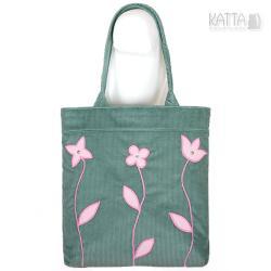 zielona torba,miętowy,różowe kwiatki - Na ramię - Torebki