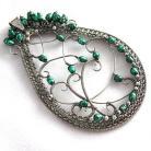 Wisiory wire-wrapping,srebro,perły,zielony