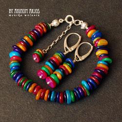 etniczny komplet biżuterii,kolorowy,energetyzujący - Komplety - Biżuteria