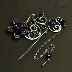 szpila,wire-wrapping,srebro,brosza,ametyst - Broszki - Biżuteria