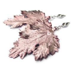 kolczyki z natyralnymi liśćmi w miedzi - Kolczyki - Biżuteria