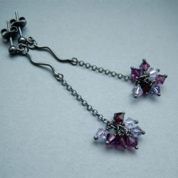 fioletowe,dyndające,wiszące,długie kolczyki - Kolczyki - Biżuteria