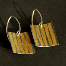 złocenie,srebro,kolczyki,unikat,efektowne - Kolczyki - Biżuteria