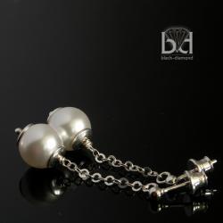 klasyczne kolczyki,perła swarovski,sztyfty - Kolczyki - Biżuteria