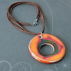 pomarańczowy naszyjnik,ceramika,oryginalny - Naszyjniki - Biżuteria