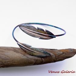 srebro,pióra,oksyda,brązowe,bransoletka - Bransoletki - Biżuteria