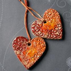 serca ceramiczne,dekoracja ściany - Ceramika i szkło - Wyposażenie wnętrz