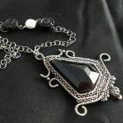 Naszyjniki wire-wrapping,srebro,onyks,czarny
