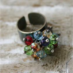 srebro,kryształ,kolorowy,swarovski,pierścionek,oks - Pierścionki - Biżuteria