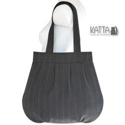 czarna torba,torba z zamkiem,torba z wełny,na zimę - Na ramię - Torebki