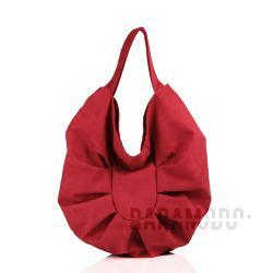 torebka,zamsz alcantara,czerwony - Na ramię - Torebki