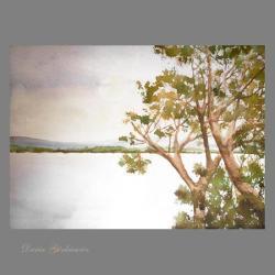 pejzaż,drzewa,obraz,wnętrze,na ścianę,prezent,woda - Ilustracje, rysunki, fotografia - Wyposażenie wnętrz