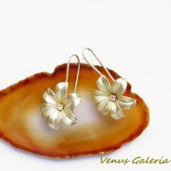 srebro,pozłocone,kolczyki,kwiatuszki - Kolczyki - Biżuteria