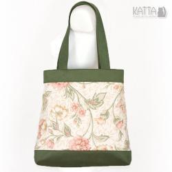 torba w kwiaty,wisenna torba,bawełna,roślinny wzór - Na ramię - Torebki