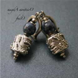 srebro,niebieskie,kolczyki,bali,granatowe,szafir - Kolczyki - Biżuteria
