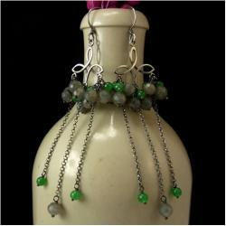 długie,kolczyki,labradoryt,jadeit,zielone,szare - Kolczyki - Biżuteria