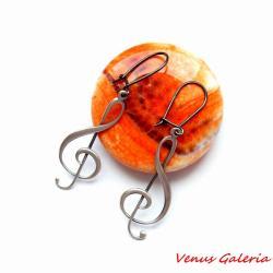 srebrne kolczyki,klucze wiolinowe - Kolczyki - Biżuteria