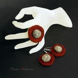 filc,pierścionek,komplet,kolczyki,srebro - Komplety - Biżuteria