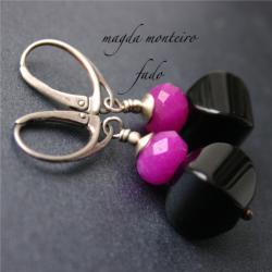 srebro,kolczyki,czarne,różowe,onyks,oksydowane - Kolczyki - Biżuteria