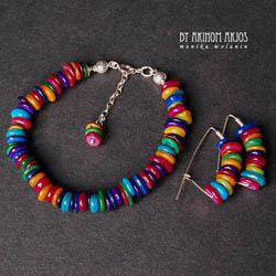 etniczny komplet biżuterii,kolorowy - Komplety - Biżuteria