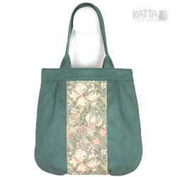 zielona torba,romantyczna,baśniowa,kwiaty,zamszowa - Na ramię - Torebki