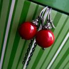 Kolczyki srebrne,kolczyki,koral,mocno czerwone