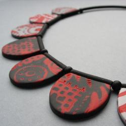 fimo,czerwień,naszyjnik,wzory,lekki - Naszyjniki - Biżuteria
