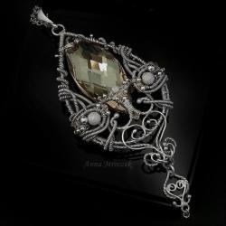 złoty,wire-wrapping,naszyjnik,wisior,wisiorek - Naszyjniki - Biżuteria
