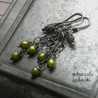 Kolczyki zwiewne,modne,efektowne kolczyki,zieleń