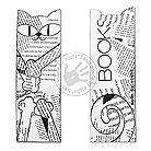 Zakładki do książek zakładka z kotem,gazeta,black white