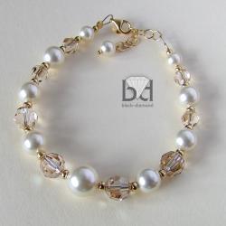 bransoletka złocona z kryształami swarovski - Bransoletki - Biżuteria