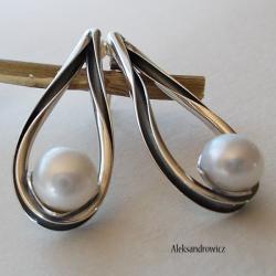 srebro oksydowane perła naturalna - Kolczyki - Biżuteria