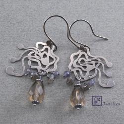 srebro,róża,wiatr,ażur - Kolczyki - Biżuteria