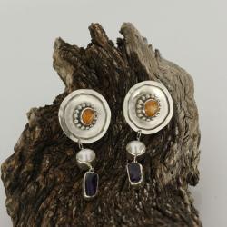 sztyfty,kolczyki,srebro,opal ognisty,perły - Kolczyki - Biżuteria