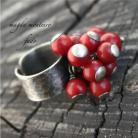 Pierścionki srebro,koral,pierścionek,czerwony,oksydowany
