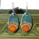 Kolczyki ceramika,pomarańcz,turkus