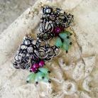Kolczyki srebro,wire-wrapping,rubiny,kwiatowe,sztyfty,