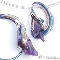 srebro,tytan,ametyst,kwiatu - Komplety - Biżuteria