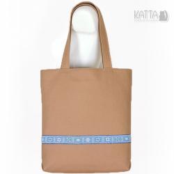 na lato,płótno,błękitna ozdoba,prosta torba - Na ramię - Torebki