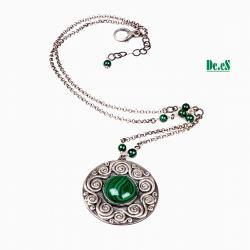 malachit,zieleń,spirale, - Naszyjniki - Biżuteria