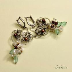 kolczyki,wire-wrapping,delikatne,pastelowe - Kolczyki - Biżuteria