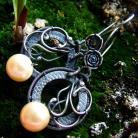 Kolczyki srebro,perły,delikatne,kobiece,wire-wrapping,