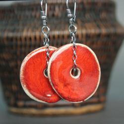 kolczyki,ceramika,pomarańczowy,czerwony - Kolczyki - Biżuteria