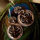 Kolczyki kwarc dymny,okrągłe,wire-wrapping,srebro